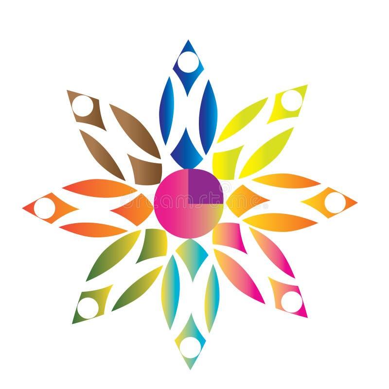 Multicolored teamwork logo stock image