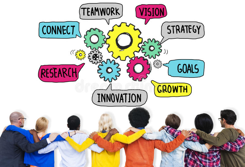 Teamwork Connect Strategy Vision Together Gear Concept royalty free stock image