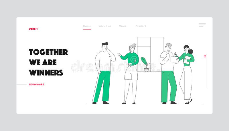 Teamwork and Connection Website Landing Page. Group of Young People Speaking Together. Male Female Characters stock illustration