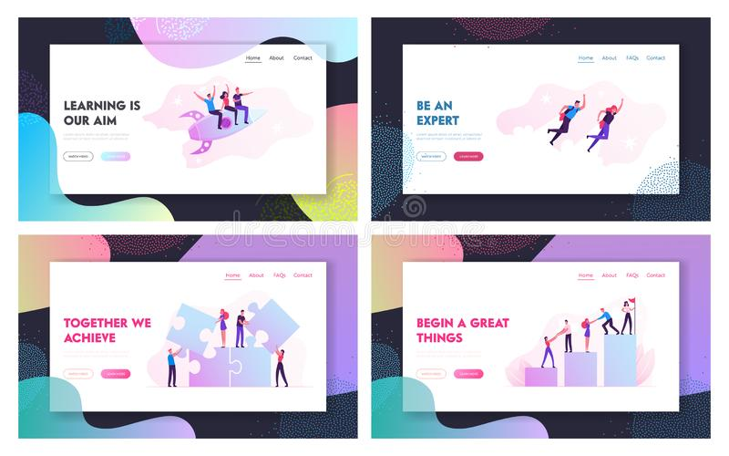 Teamwork Cooperation, Business Challenge Website Landing Page Set. Businesspeople Flying by Rocket, Climbing Chart. Teamwork Cooperation, Business Challenge royalty free illustration