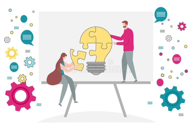 Teamwork cooperation partnership. Business concept. Vector. Vector illustration with people connect puzzle elements. Teamwork, cooperation, partnership. Business royalty free illustration