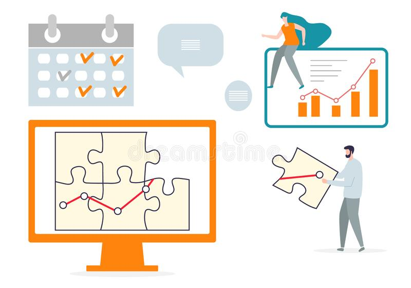 Teamwork cooperation partnership. Business concept. Vector. Vector illustration with people connect puzzle elements. Teamwork, cooperation, partnership. Business stock illustration