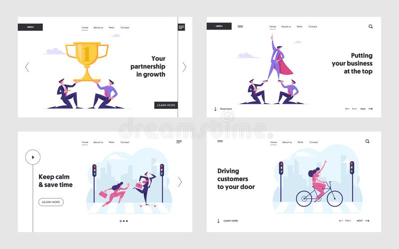 Teamwork Cooperation and Success Website Landing Page Set. Creative Business People Make Pyramid for Goal Achievement royalty free illustration