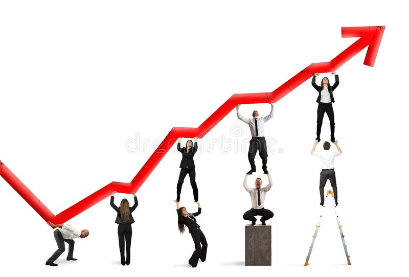 Teamwork and corporate profit. With red statistical trend stock illustration