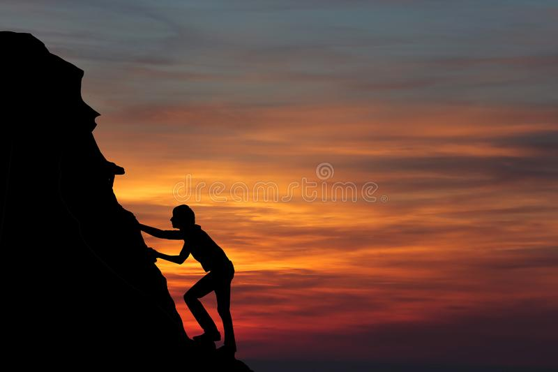 Teamwork couple hiking help each other trust assistance silhouette in mountains, sunset. Teamwork of man and woman hiker helping e. Ach other on top of mountain stock images