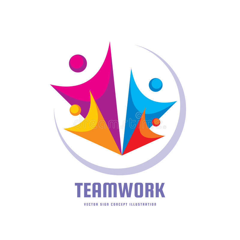 Teamwork - Creative Vector Template Vector Illustration. Abstract ...
