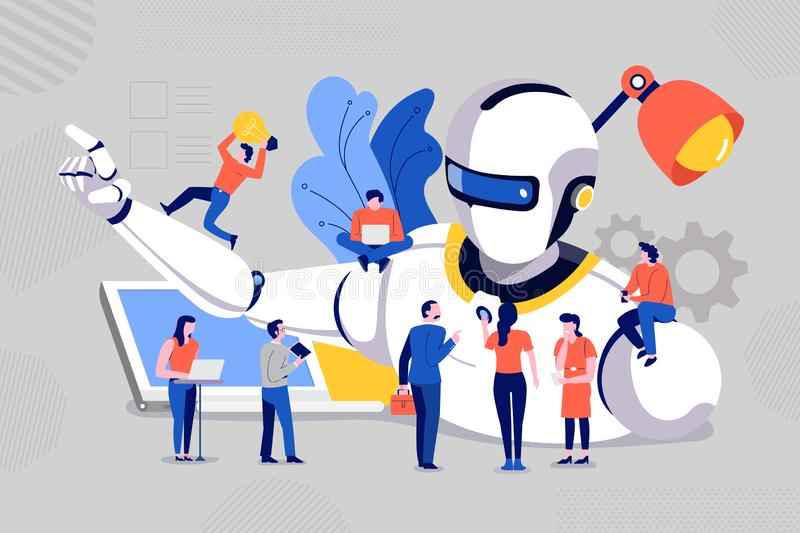 Teamwork develop robot stock illustration