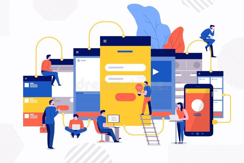 Teamwork development website vector illustration
