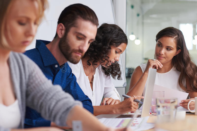 Teamwork discussion documents stock image