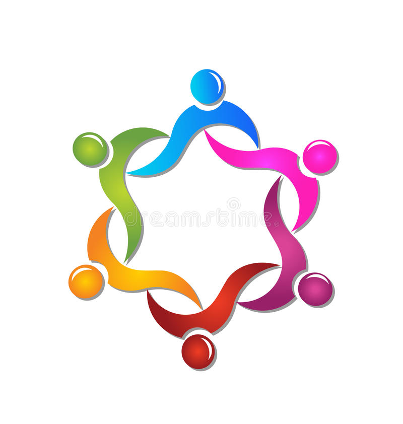 Teamwork diversity people logo vector illustration