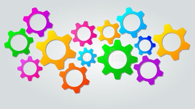 Teamwork- eller marknadsföringsmekanismbegrepp Abstrakt bakgrund med färgrika kugghjulsymboler för utveckling, lagarbete royaltyfri illustrationer
