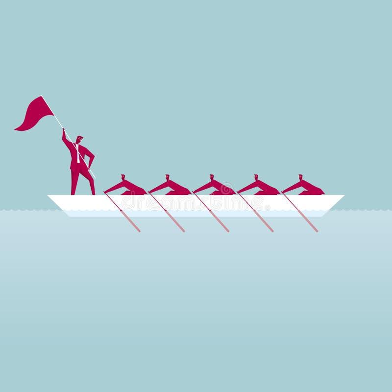 Teamwork En grupp av affärsmän ror vektor illustrationer