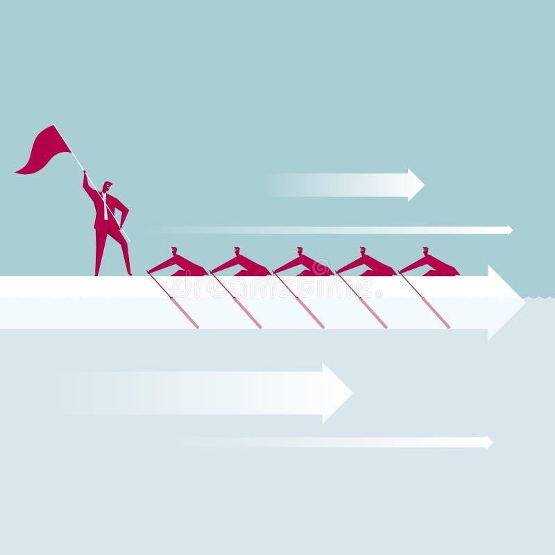 Teamwork En grupp av aff?rsm?n ror royaltyfri illustrationer