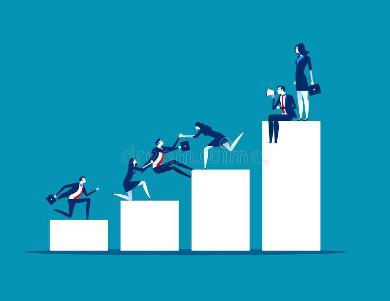 Teamwork-Erfolg Geschäftsleute helfen Kollegen, Konzeptgeschäfts-Vektorillustration, flacher Geschäftskarikaturentwurf, Werbung vektor abbildung