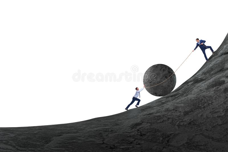 Teamwork example with business people pushing stone to top stock image