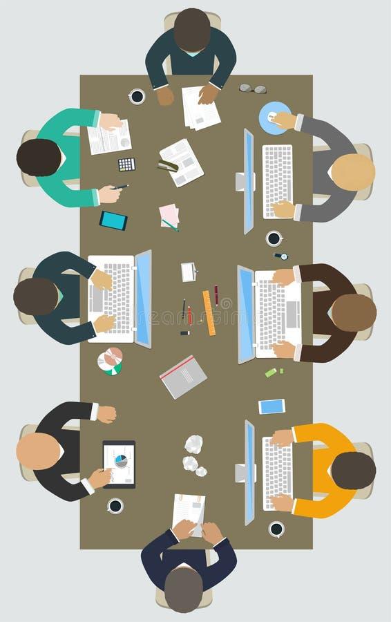 Teamwork för kontorsskrivbord royaltyfri illustrationer