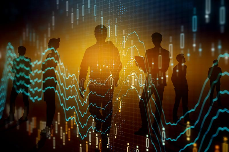 Teamwork, finance and investment concept. Businesspeople silhouettes with glowing forex chart on blurry background. Teamwork, finance and investment concept royalty free stock images