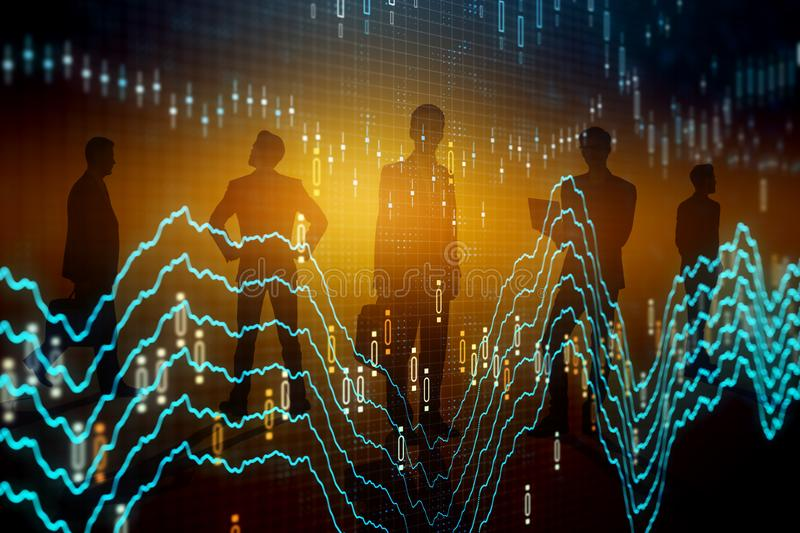 Teamwork, finance and trade concept. Businesspeople silhouettes with glowing forex chart on blurry background. Teamwork, finance and trade concept. Double stock images