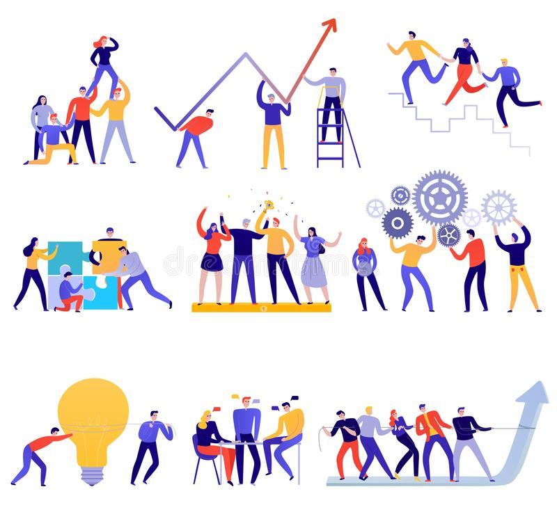 Teamwork Flat Colorful Set. Teamwork icons flat colorful set with people trying to achieve goals together isolated on white background vector illustration royalty free illustration