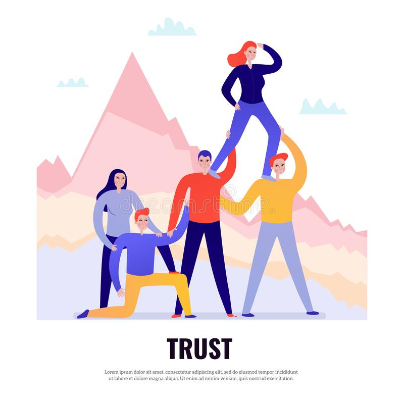 Teamwork Flat Concept. Teamwork flat design concept with people standing together and trusting one another vector illustration stock illustration