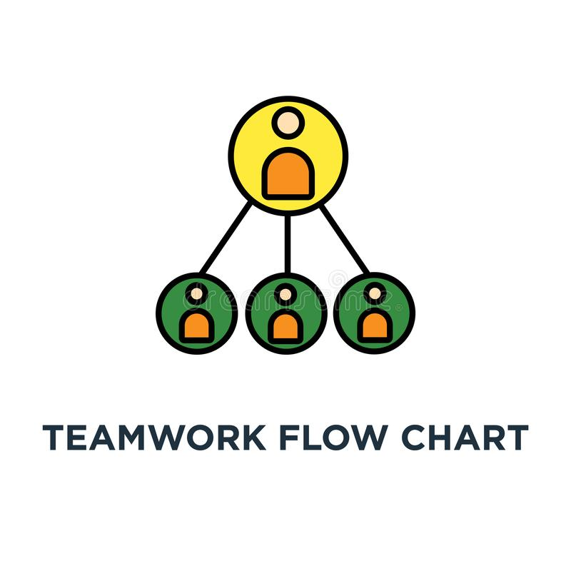 teamwork flow chart icon. business hierarchy or business team pyramid structure concept symbol design, company organization vector illustration