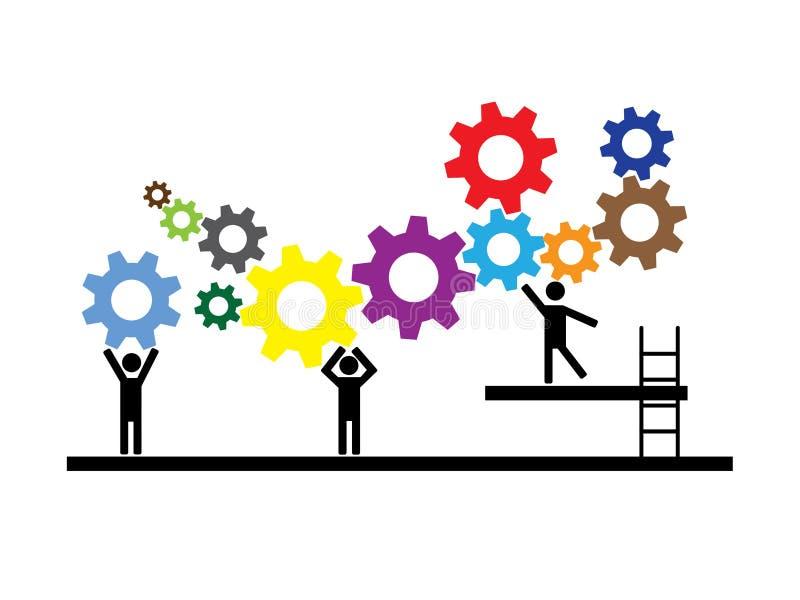 Teamwork folk som tillsammans arbetar p? monteringsband stock illustrationer