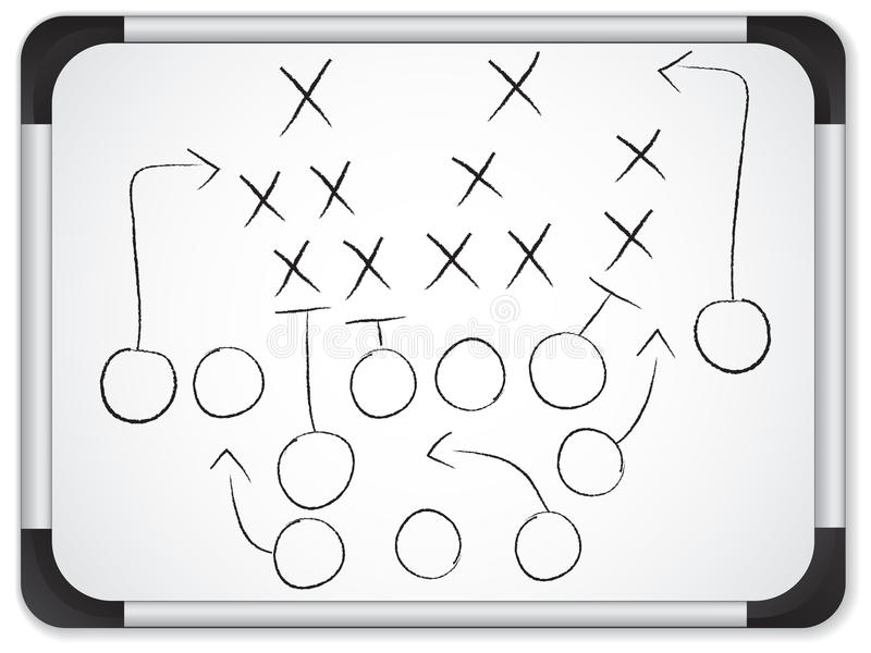 Teamwork Football Game Plan on Whiteboard stock illustration