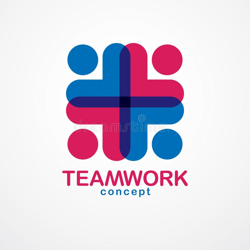 Teamwork And Friendship Concept Created With Simple Geometric El