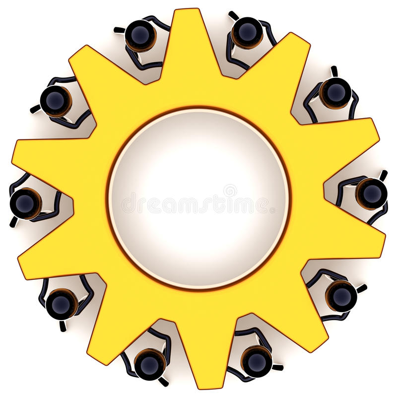 Teamwork gear wheel concept. Teamwork satisfaction. Employ business efficiency progress result. Success of togetherness concept. Stylized black workers as dream royalty free illustration