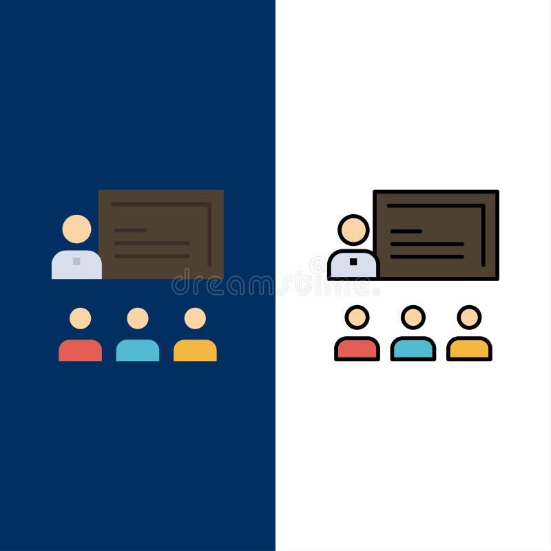 Teamwork, Geschäft, Mensch, Führung, Management-Ikonen Ebene und Linie gefüllte Ikone stellten Vektor-blauen Hintergrund ein stock abbildung