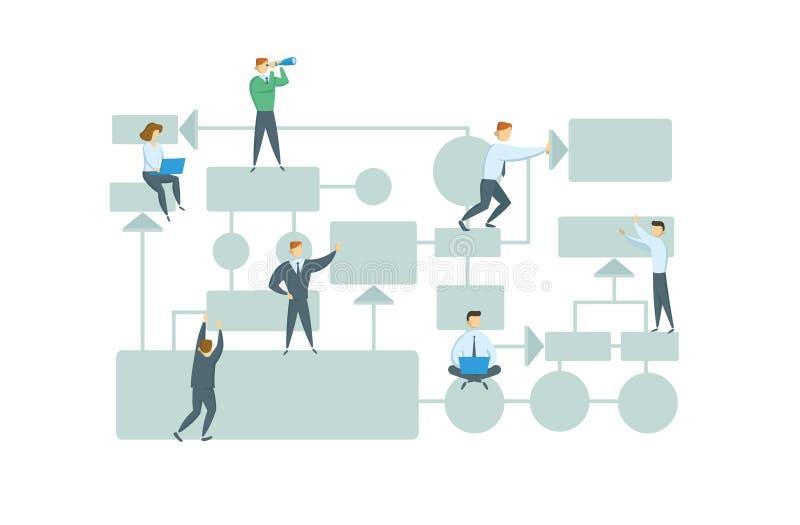 Teamwork, Geschäftsarbeitsflussplan mit Diagrammelementen und Leutezahlen Ausführliche Geschäfts-Karikatur-Serie bunter flacher A lizenzfreie abbildung
