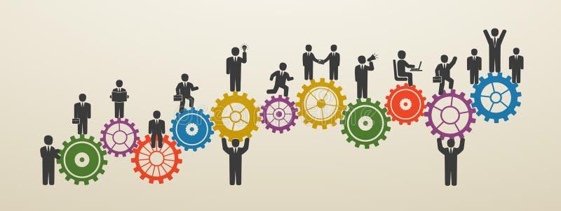 Teamwork, Geschäftsleute in der Bewegung, Arbeitskräfte lizenzfreie abbildung