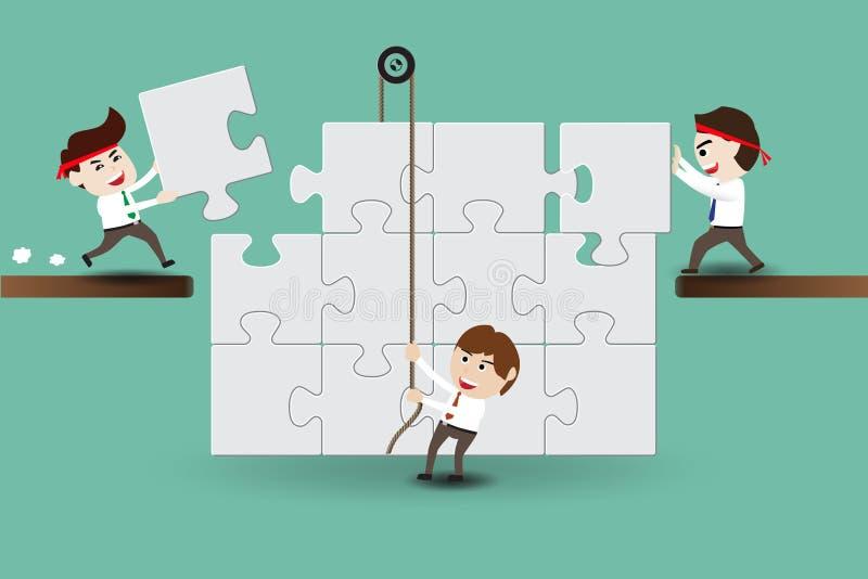 Teamwork, Geschäftsmänner, die Stücke eines Puzzlespiels zusammenbauen lizenzfreie abbildung
