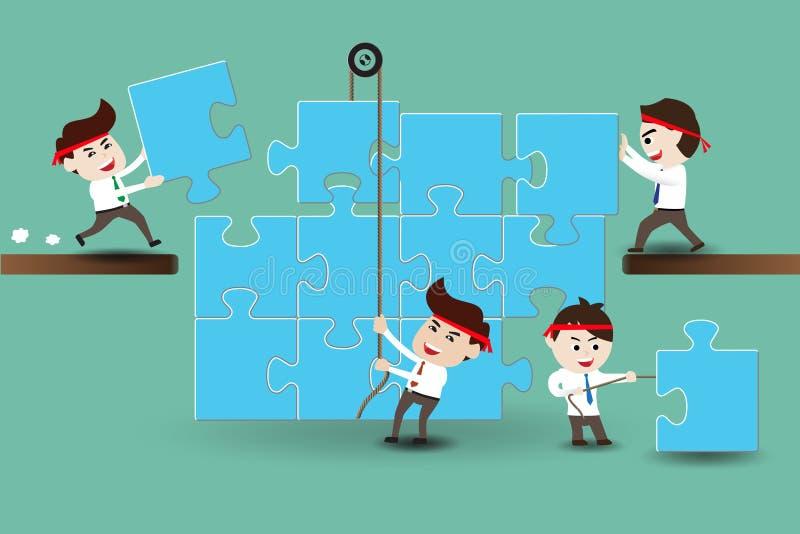 Teamwork, Geschäftsmänner, die Stücke eines Puzzlespiels zusammenbauen stock abbildung