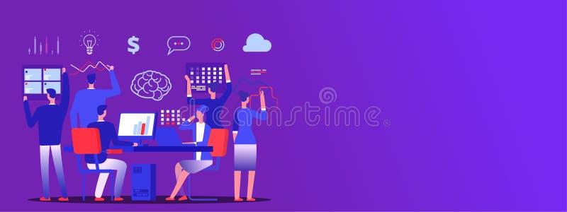Teamwork, Geschäftsteamgeistesblitzvektorkopien-Raumfahne lizenzfreie abbildung