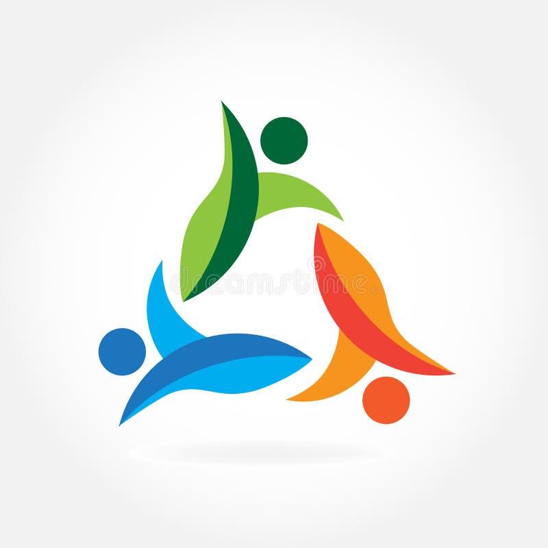 Teamwork group of business people logo vector illustration