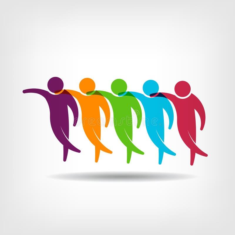 Teamwork.Group de la imagen del logotipo de los amigos ilustración del vector