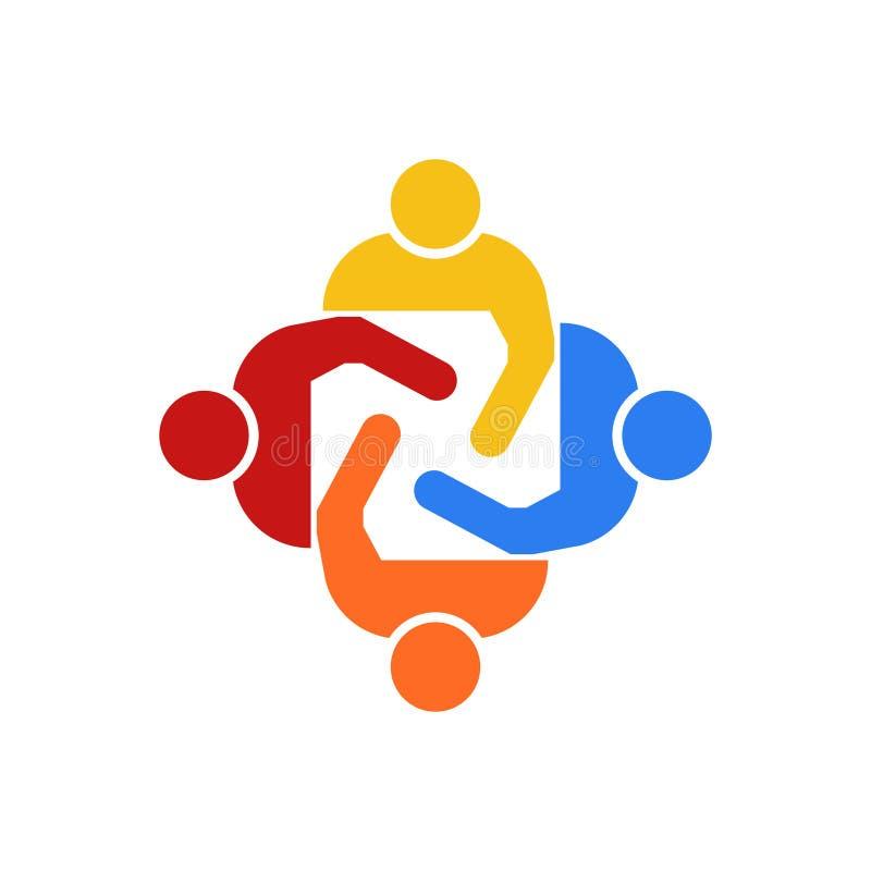 Teamwork Group of Four People Vector Illustration stock illustration