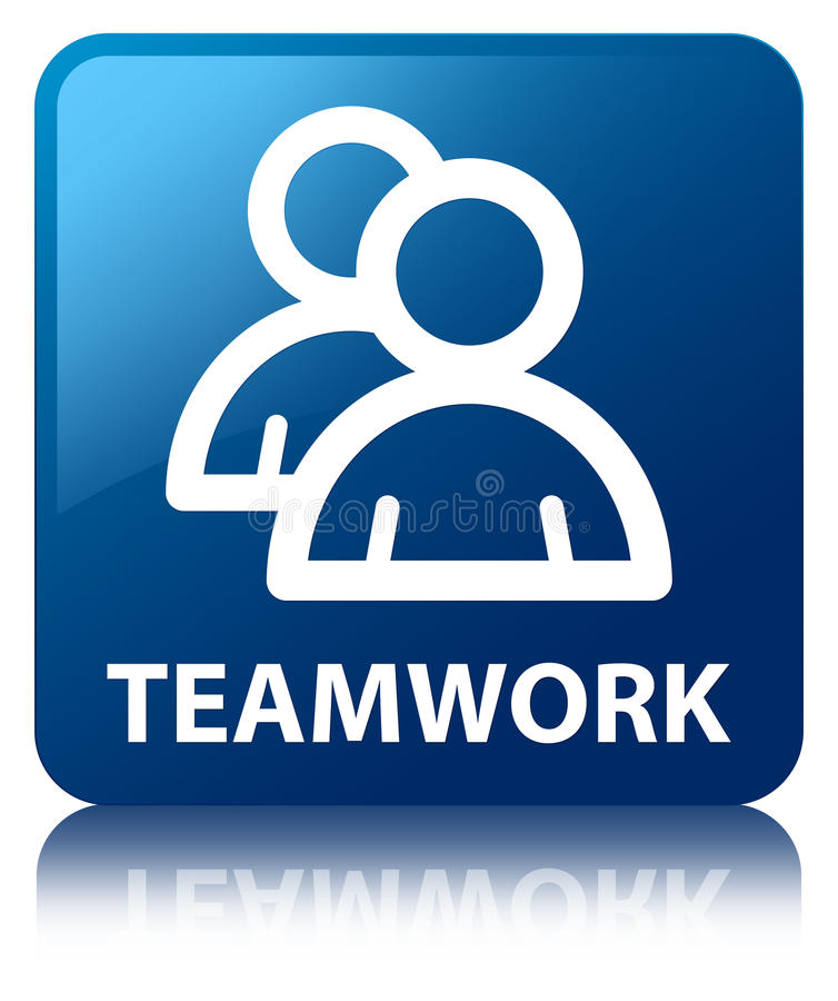 Teamwork (group icon) blue square button royalty free illustration