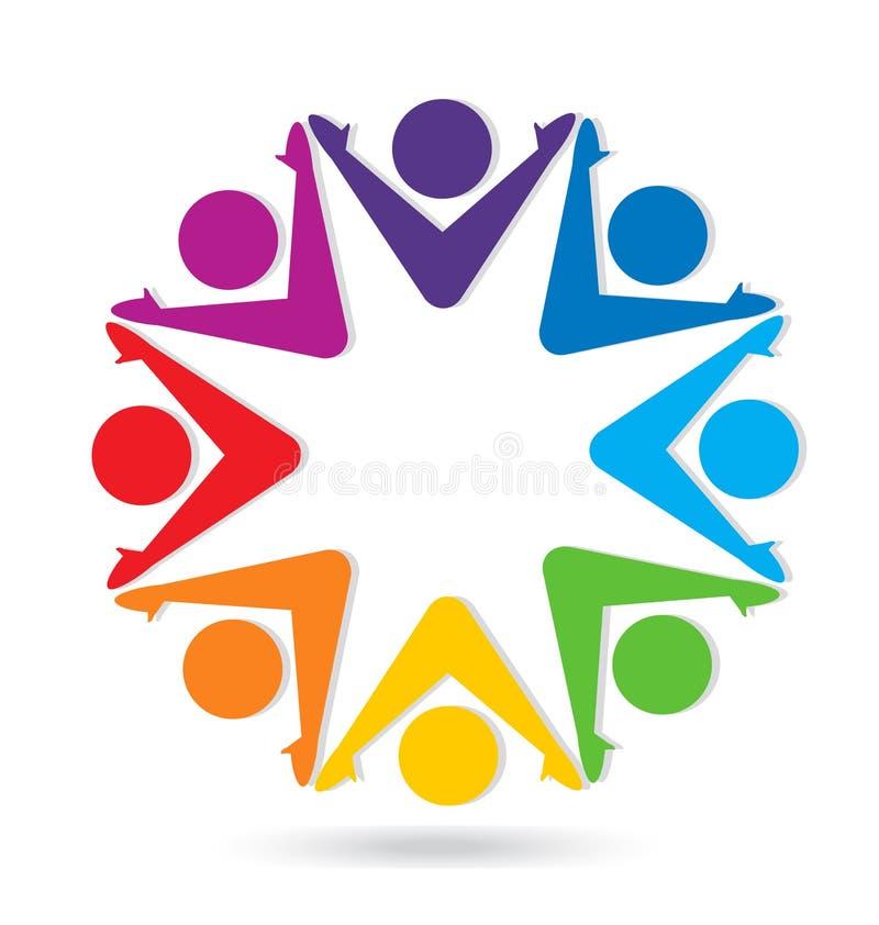 Teamwork group of people, cheerful community vector logo stock illustration