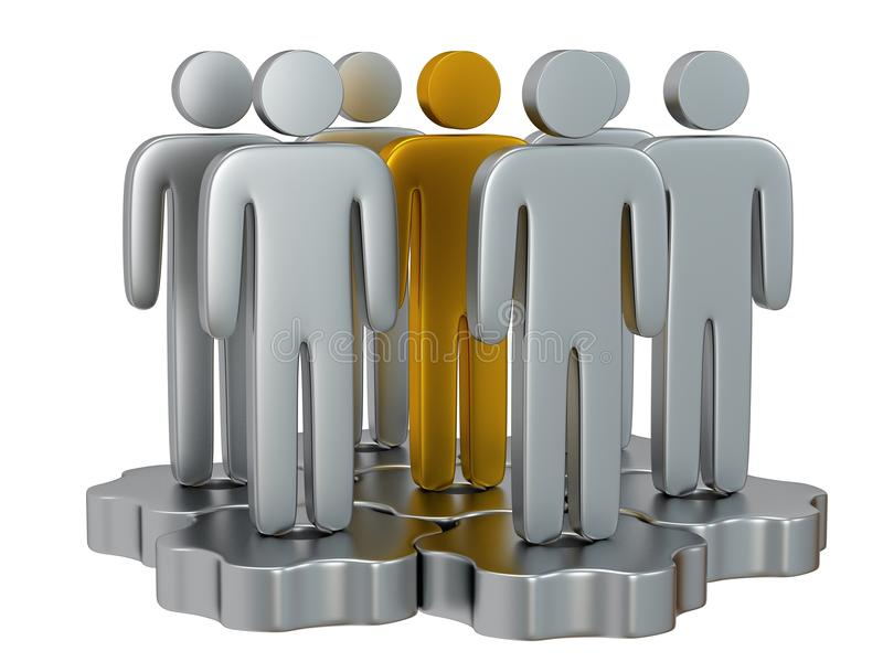 Teamwork. Group of stylized people stand on gears. Group of stylized metal people stand on gears with gold team leader white. Isolated 3d render icon. Teamwork royalty free illustration