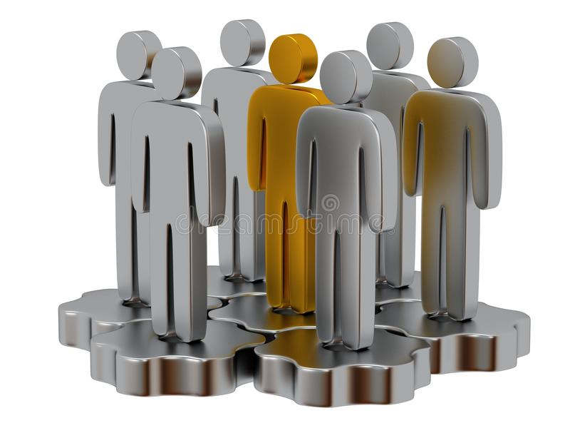 Teamwork. Group of stylized people stand on gears. Group of stylized metal people stand on gears with gold team leader white. Isolated 3d render icon. Teamwork stock illustration