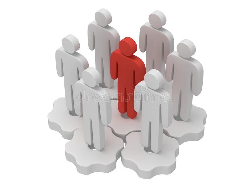 Teamwork. Group of stylized people stand on gears. Group of stylized white people stand on gears with red team leader white. Isolated 3d render icon. Teamwork royalty free illustration