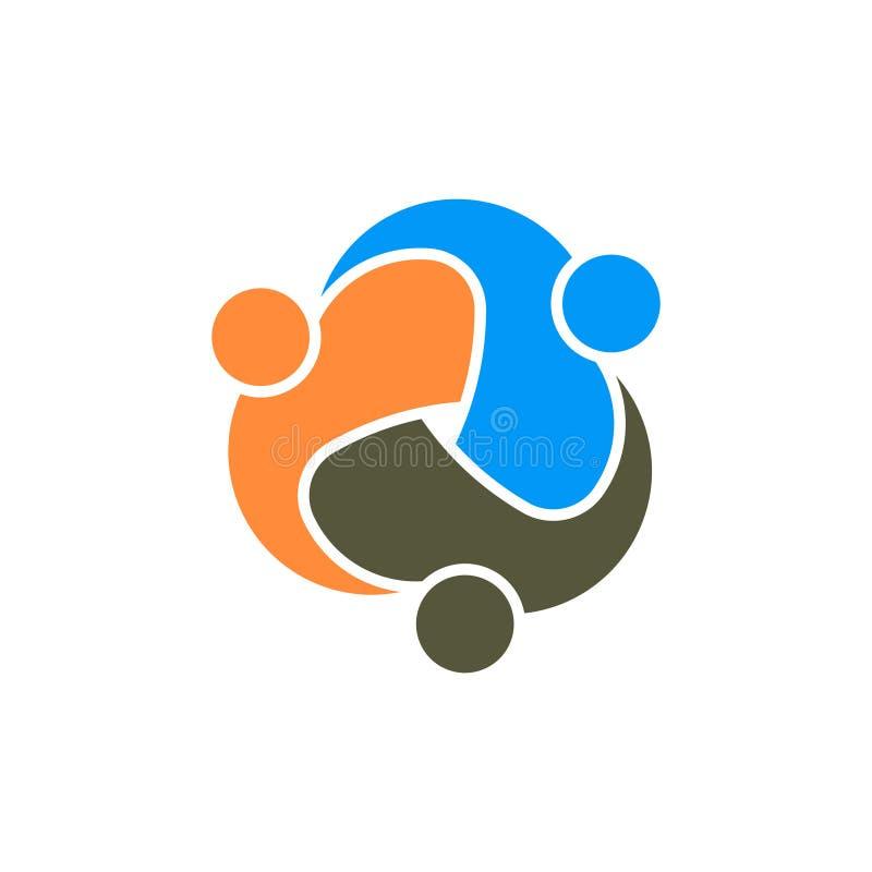 Teamwork Group of Three Partners Logo stock illustration