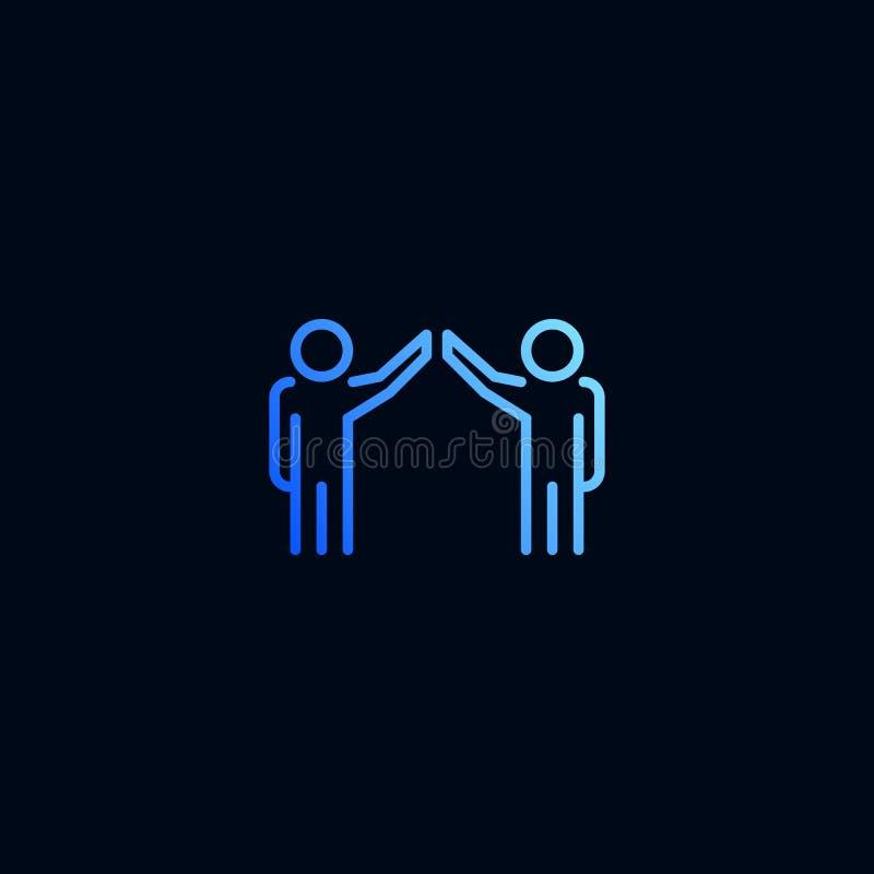 Teamwork hög fem linje symbol Vektorillustration i linj?r stil stock illustrationer