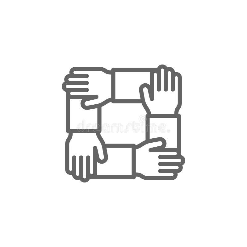 Teamwork-Handentwurfsikone Elemente der Gesch?ftsillustrationslinie Ikone Zeichen und Symbole k?nnen f?r Netz, Logo, mobiler App  lizenzfreie abbildung