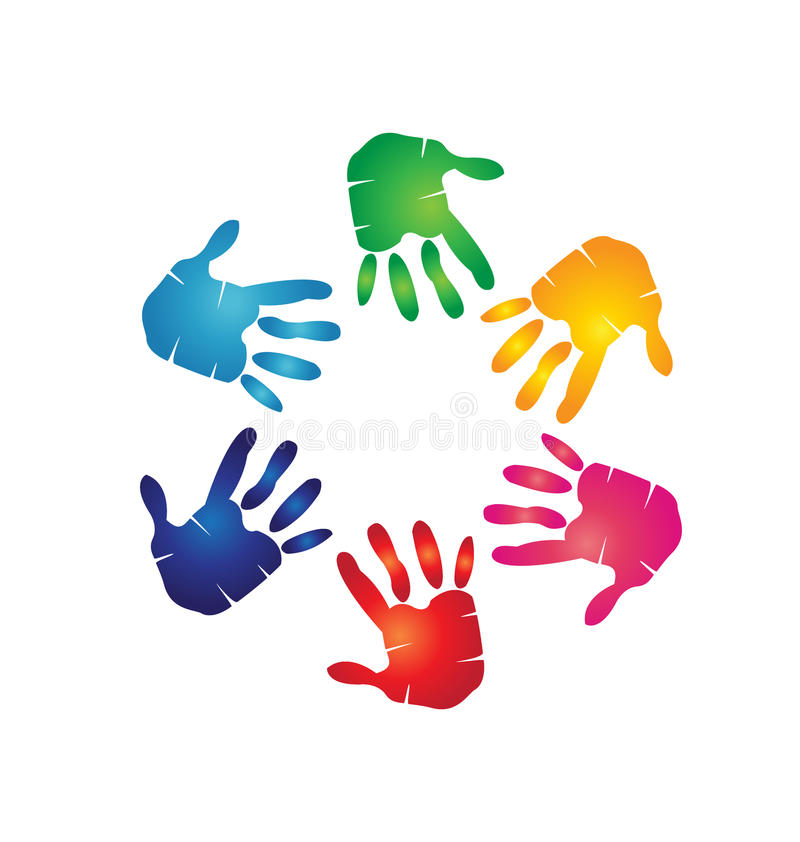 Teamwork hands colorful royalty free illustration