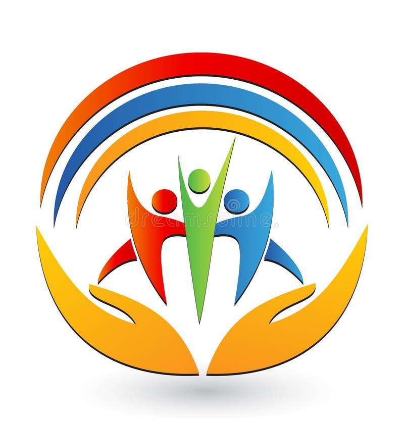 Teamwork hands logo vector stock illustration