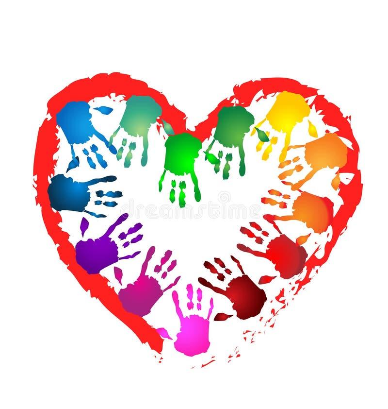 Teamwork hands heart shape logo royalty free illustration