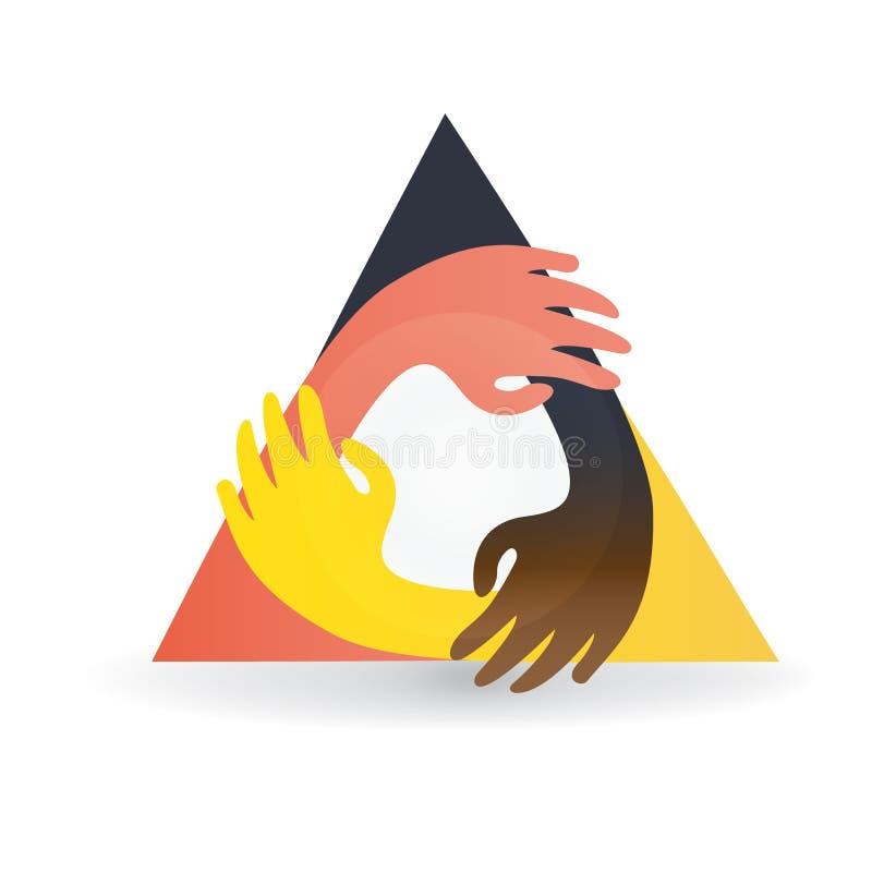 Teamwork hands friendship logo vector illustration